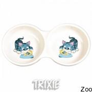 Trixie Миска Двойная Керамическая Для Кошки 0,15Л (4014)