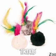 Trixie мяч меховый с перьями 4 см (4126)