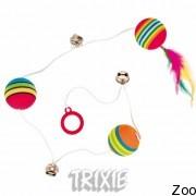 Trixie мячи на шнуре + перо + бубенчики (4133)