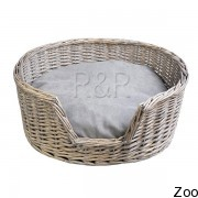 R&R Corparation Limited лежак плетёный античный серый с серым ковриком (Ptw 724)
