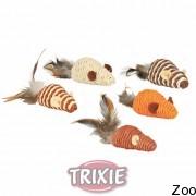 Trixie мышь плетёная из сизалевой нити с перьями, 7см (45807)