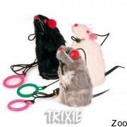 Trixie 4081 игрушка на резинке плюшевая крыса писчалка 9 см
